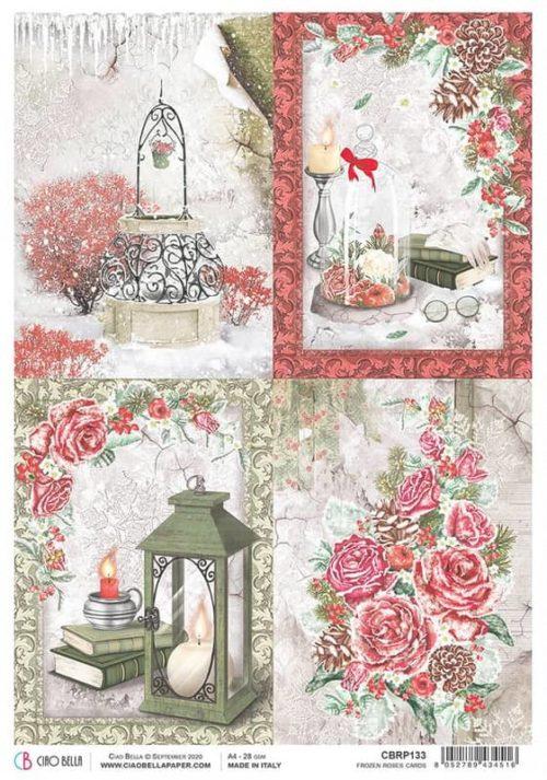 Rice Paper - Frosen Roses Cards  - CBRP133