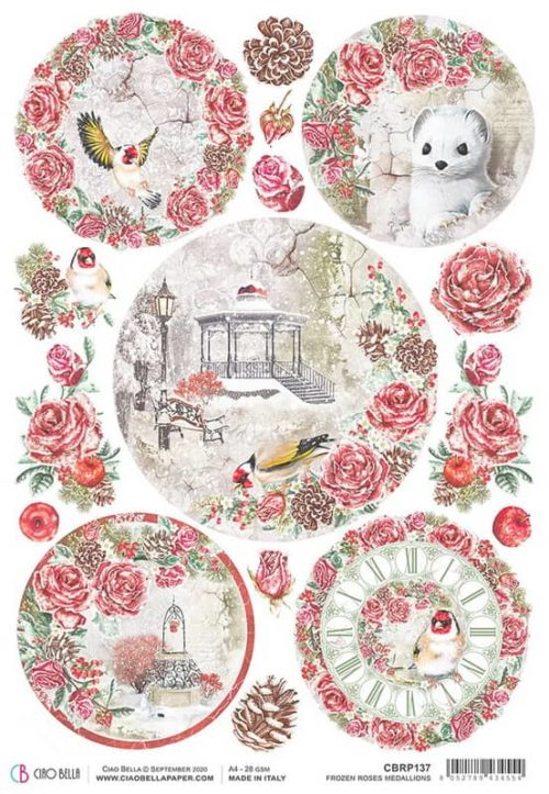 Rice Paper - Frosen Roses Medalions  - CBRP137