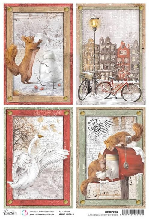 Rice Paper - Memorable Snowy Day Cards  - CBRP203