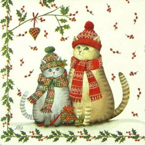 Cocktail Napkin -  Christmas Cats