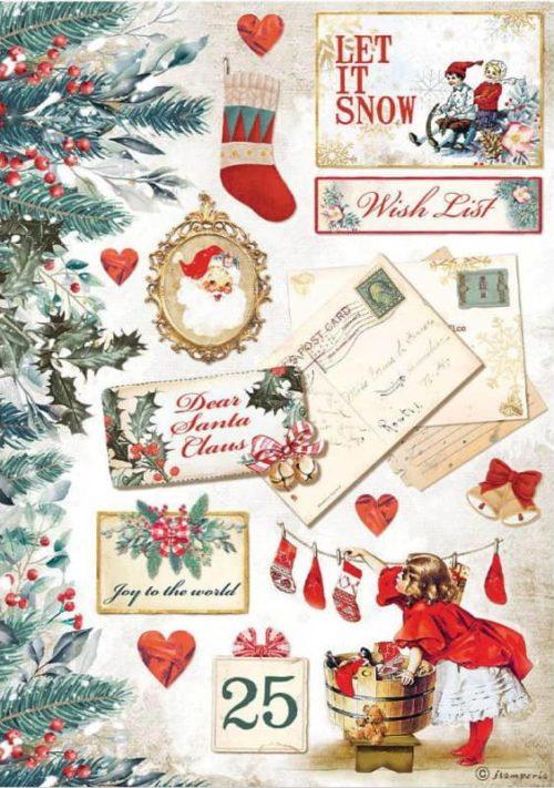 Rice Paper - Romantic Christmas Let it Snow Cards - DFSA4614