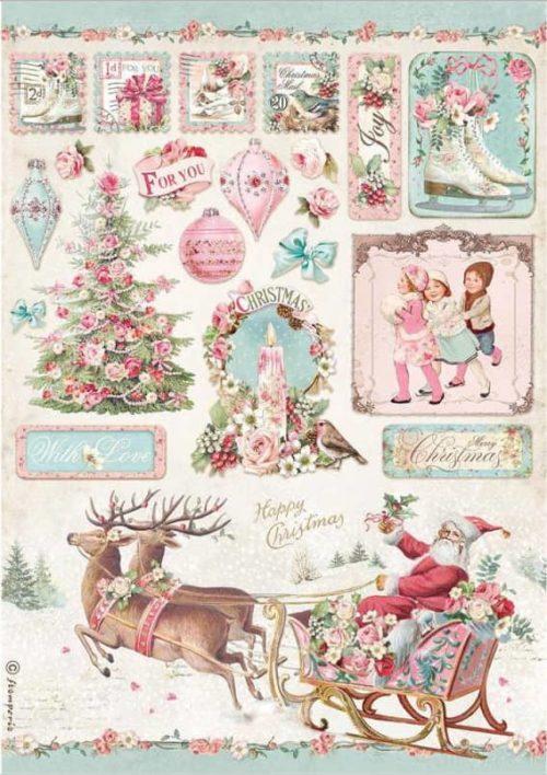 Rice Paper - Pink Christmas Sleigh - DFSA4628