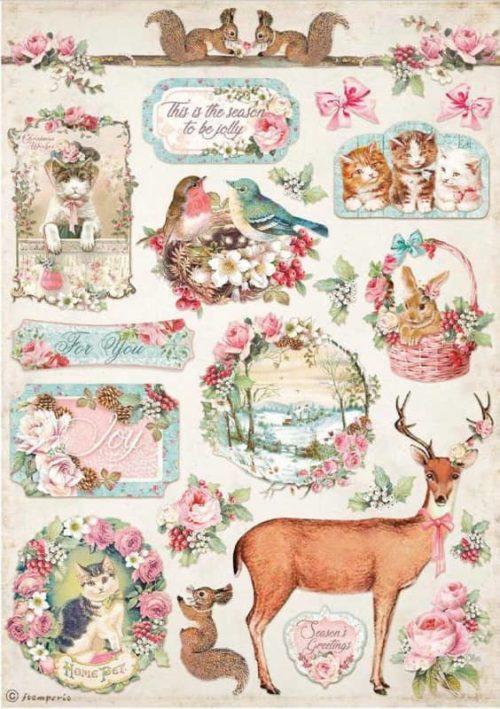 Rice Paper - Pink Christmas Deer - DFSA4629
