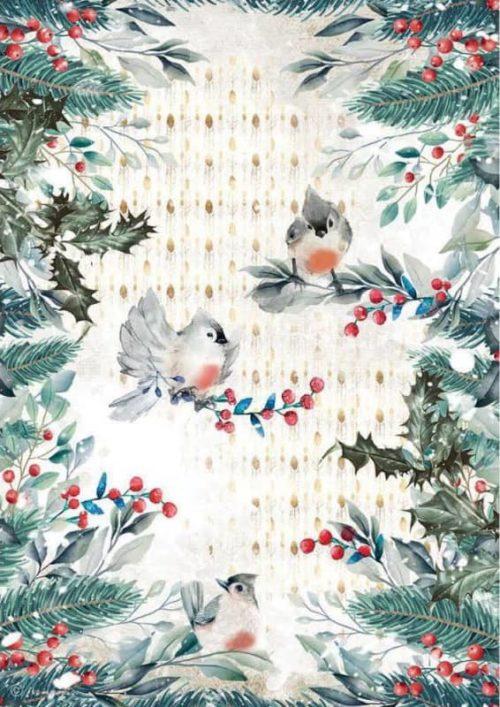 Rice Paper - Romantic Christmas Birds - DFSA4634