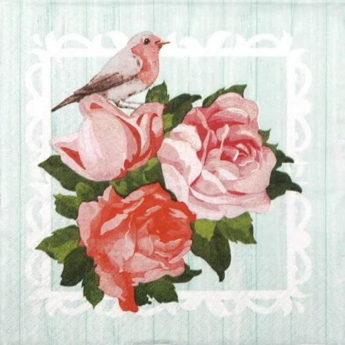 Paper Napkin -  Bird and Roses